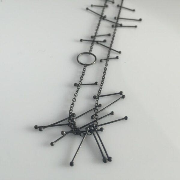 necklace black silver