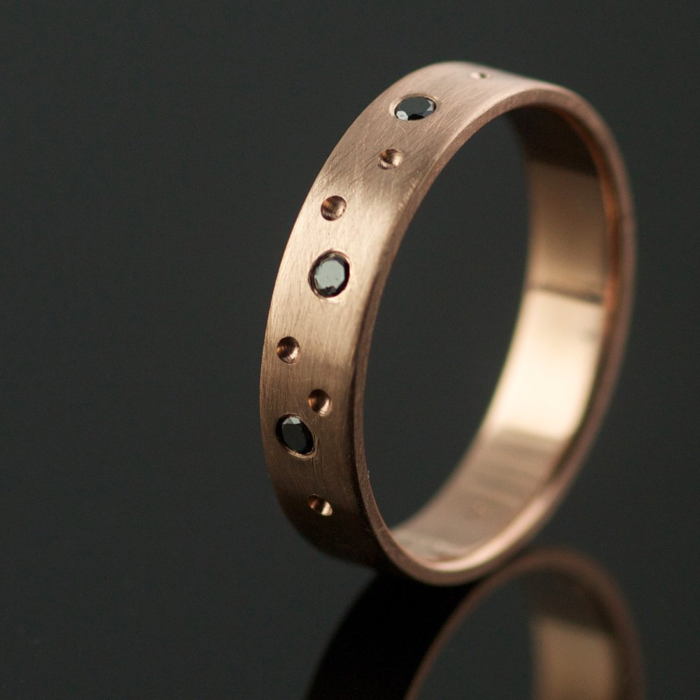 rose gold and black diamond ring unique wedding
