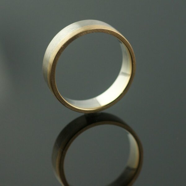 wide two color wedding ring mens ring unique