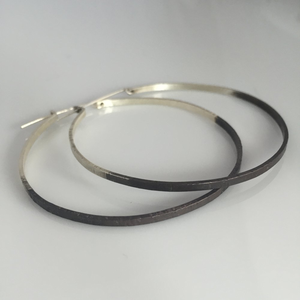 large silver hoop earrings fairmined oxidized duo color vk designs