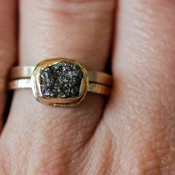 Rough Diamond Engagement Ring 1 2ct Black In Gold Love This Design