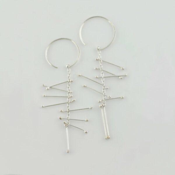 silver hanging earrings handmade