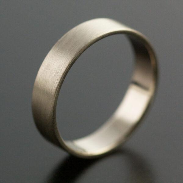 wide white gold wedding ring handmade