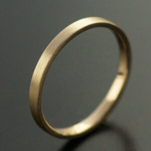 2mm yellow gold wedding ring with matte finish
