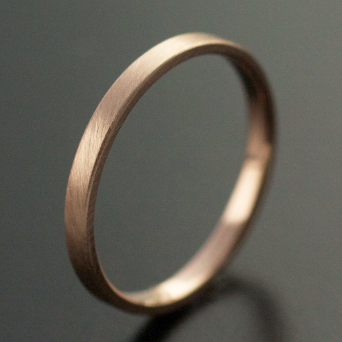 2mm rose gold wedding ring satin finish