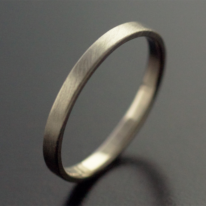 2mm white gold ring wedding satin finish