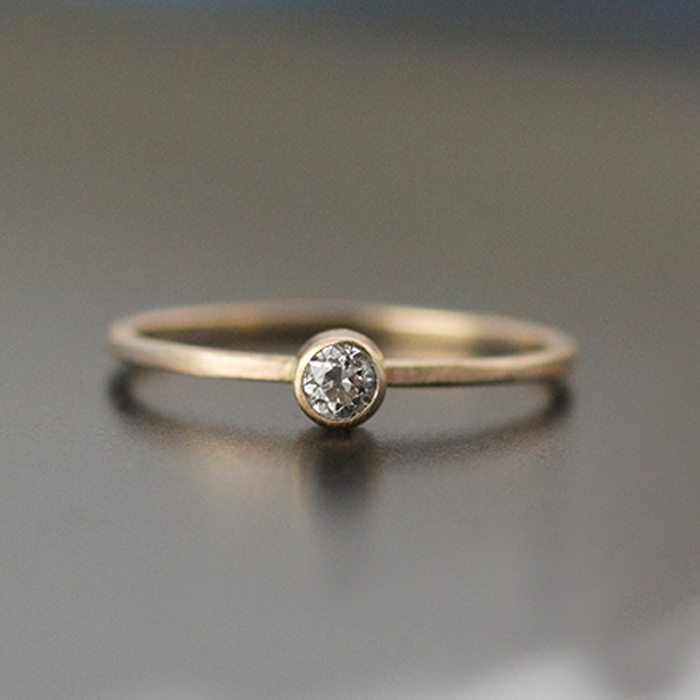 2mm white diamond ring in 14k yellow gold engagement