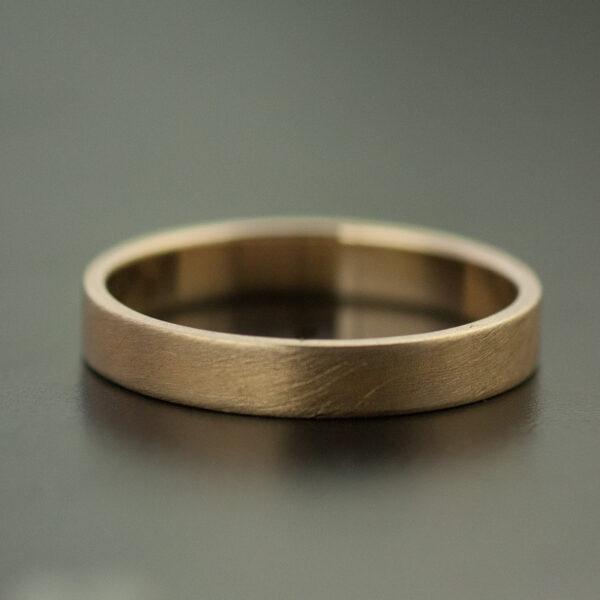 thin yellow gold wedding band satin finish