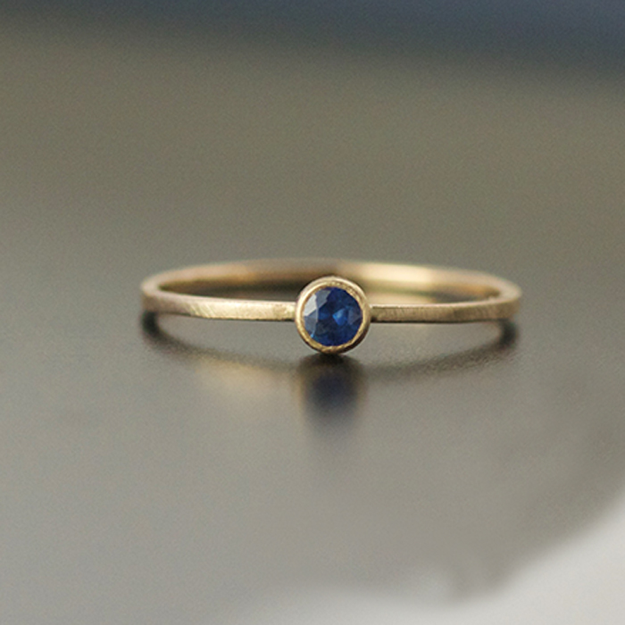 3mm blue sapphire engagement ring