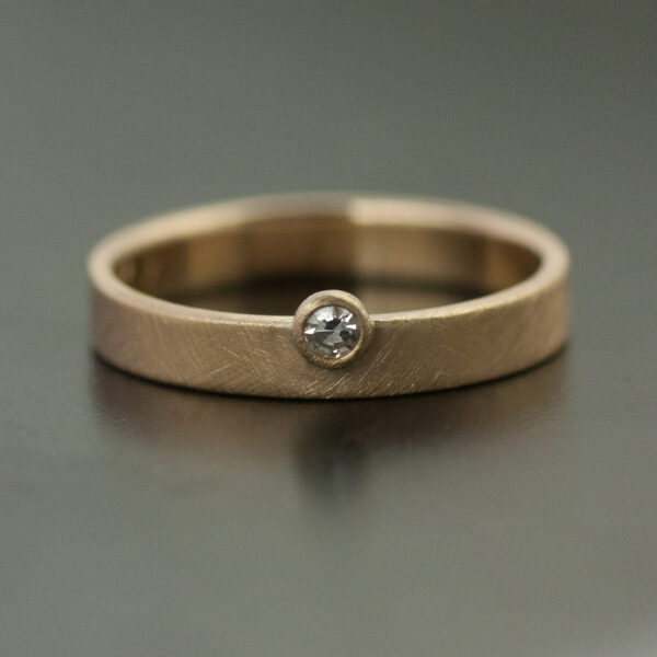 modern offset diamond ring yellow gold