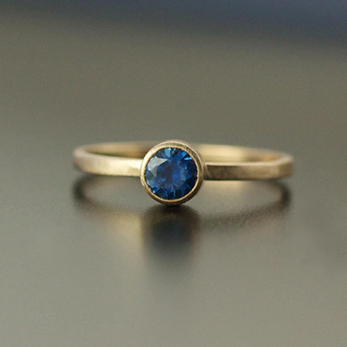 blue sapphire ring 4.5mm bezel set