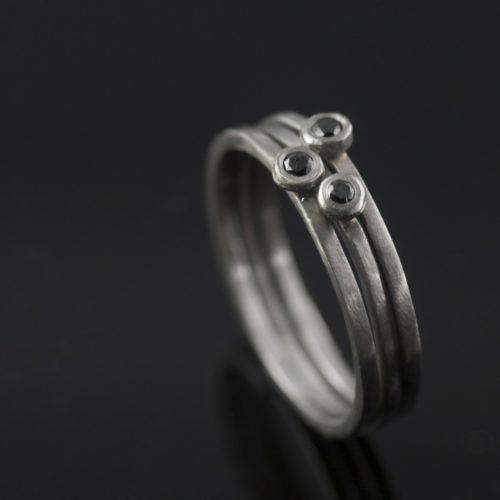 black diamond stacking wedding ring set