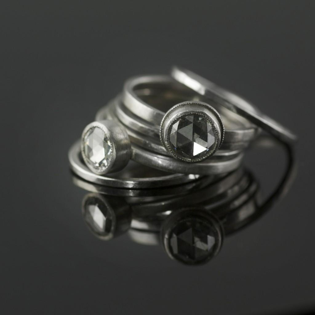 stacking rose cut diamond ring set in platinum