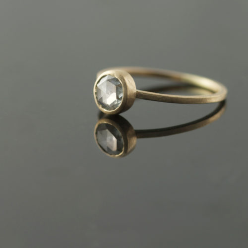 rose cut diamond in yellow gold engagement ring