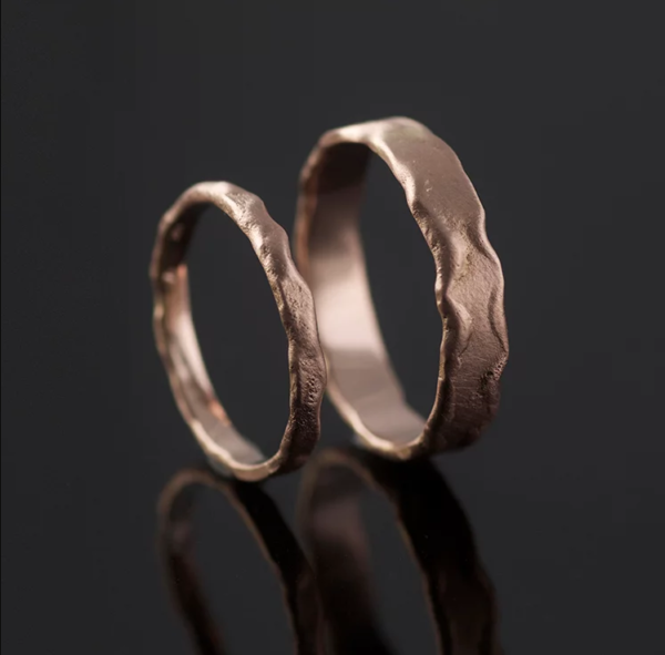 rose gold melted rings