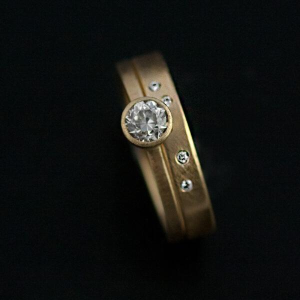 wedding rings flush set diamonds