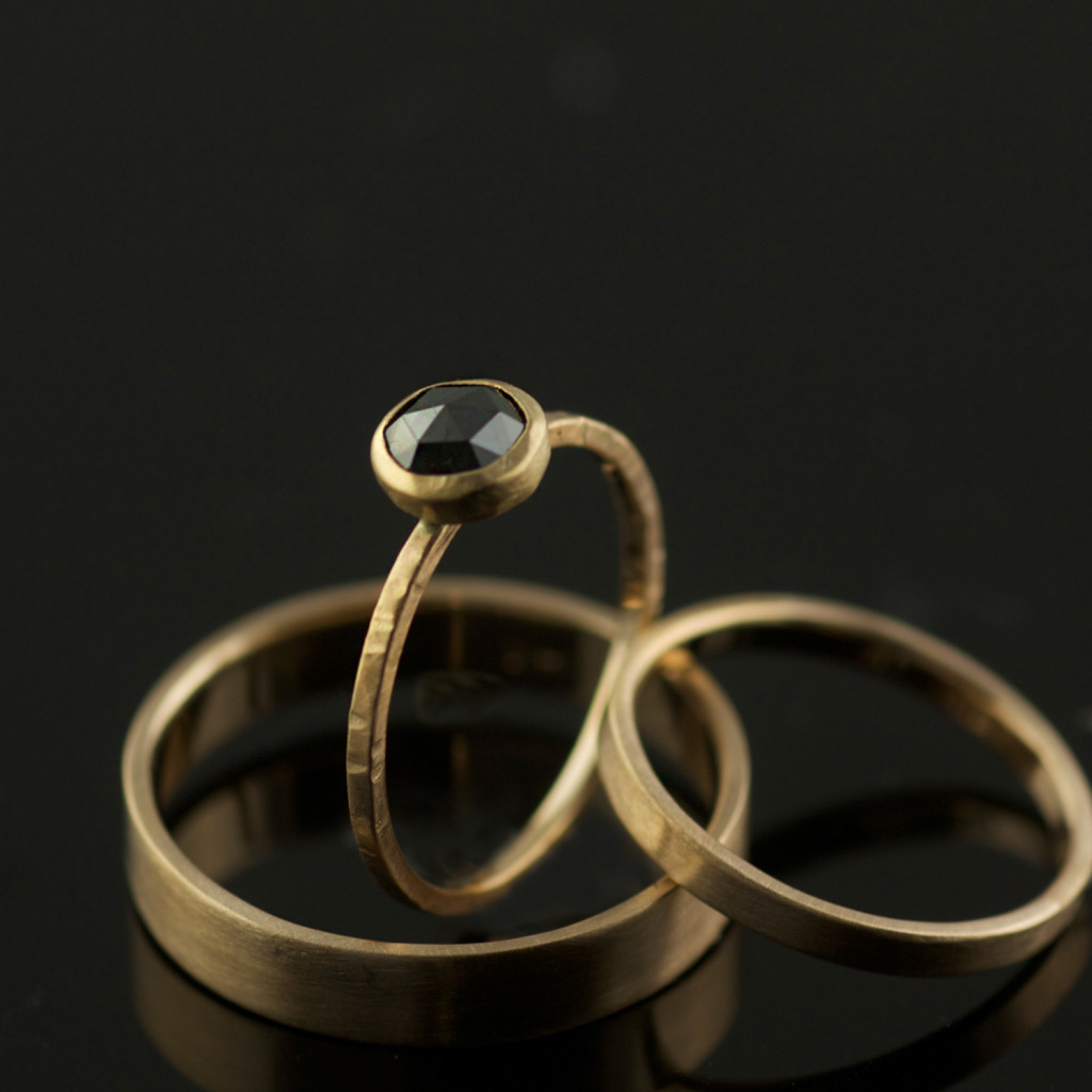 RECYCLED 14K YELLOW GOLD ROSE CUT BLACK DIAMOND WEDDING RING SET
