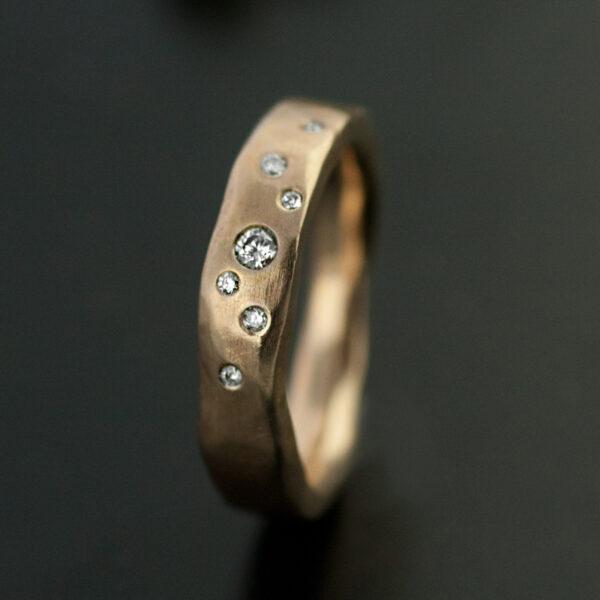 yellow gold ring organic texture