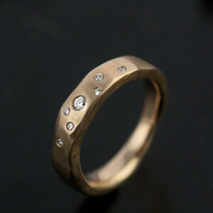 organic ring gold with diamonds