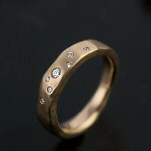 organic ring gold with diamonds