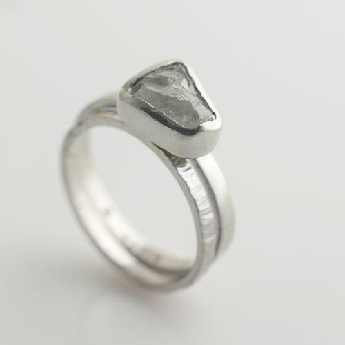 uncut diamond ring hand made