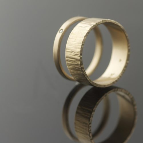hammered gold wedding rings recycled