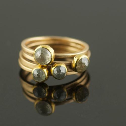 grey rose cut diamond engagement stacking rings
