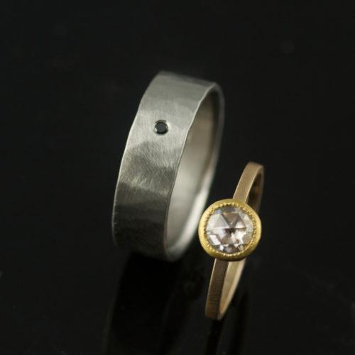 unique wedding ring set gold and palladium moissanite