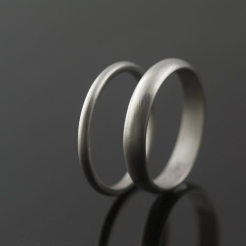 half round palladium wedding rings matte