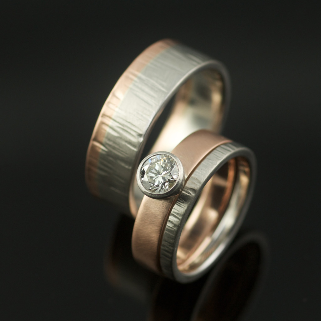 Recycled Palladium Rose Gold Hand Forged Wedding Ring Set: Palladium Wedding Ring Set At Websimilar.org