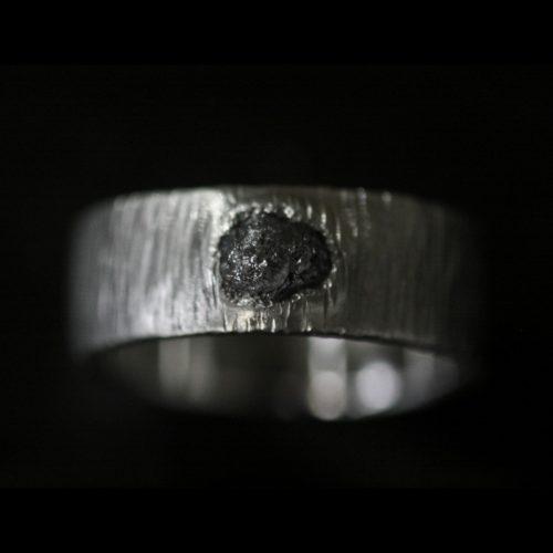 rough diamond ring black diamond mens band