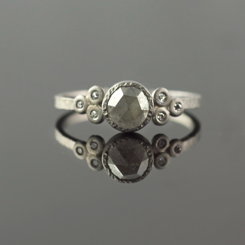 rose cut raw diamond in platinum hammered