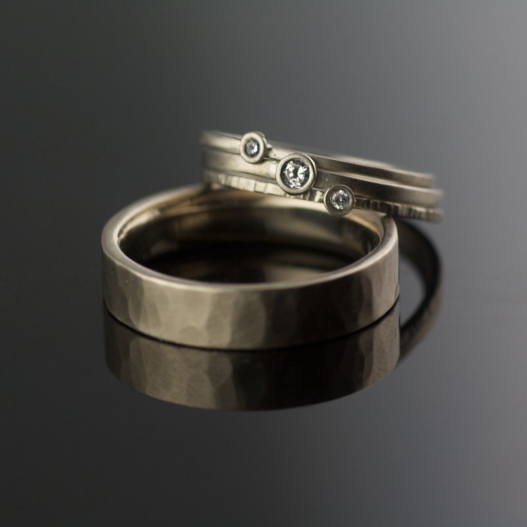 Modern 14k Gray Gold Wedding Ring Set By Vk Designs In Portland Or