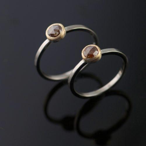 rustic diamond ring set