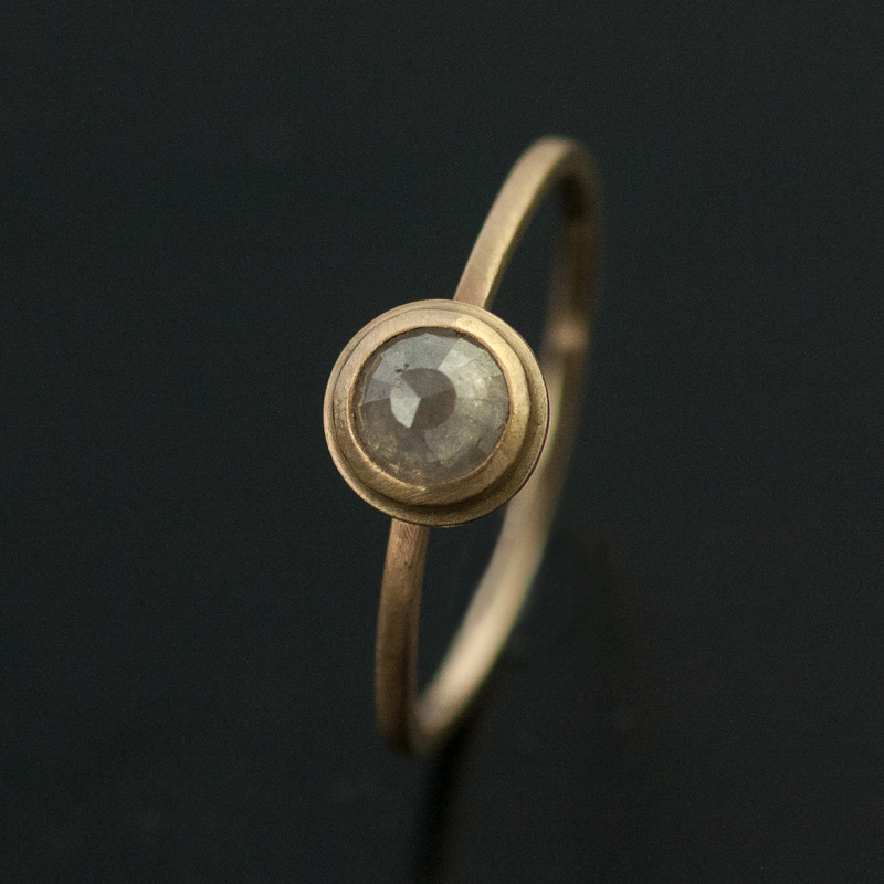 grey rose cut diamond engagement ring yellow gold