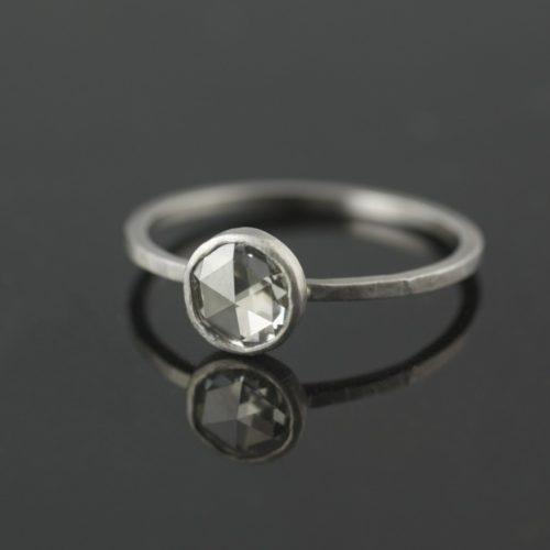 rose cut diamond bezel set in platinum