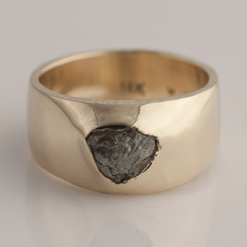 raw diamond in yellow gold ring wide band