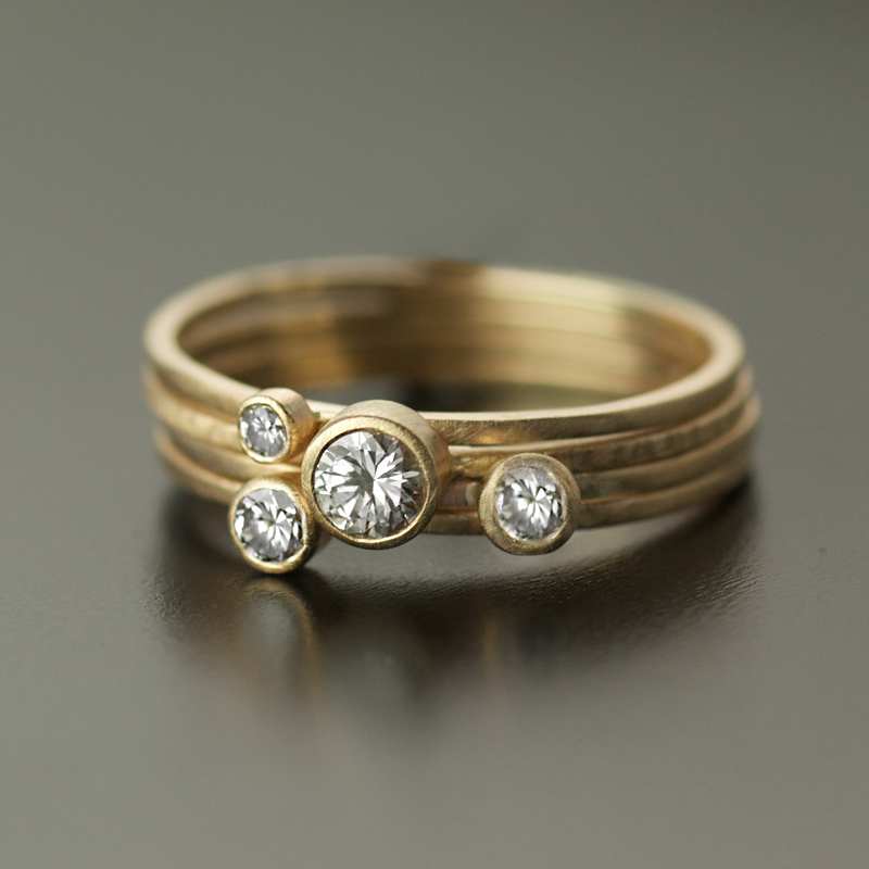 Stacking Diamond Ring Set 4 bands VK Designs