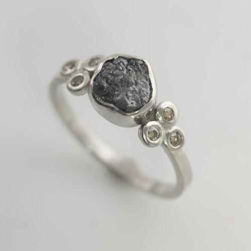 uncut diamond ring champagne diamond engagement