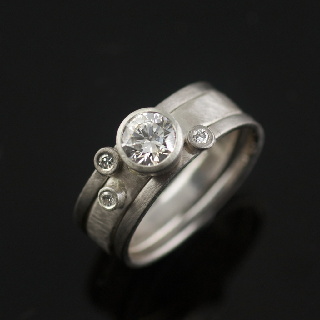 edwardian white ring and diamond style recycled gold engagement rings