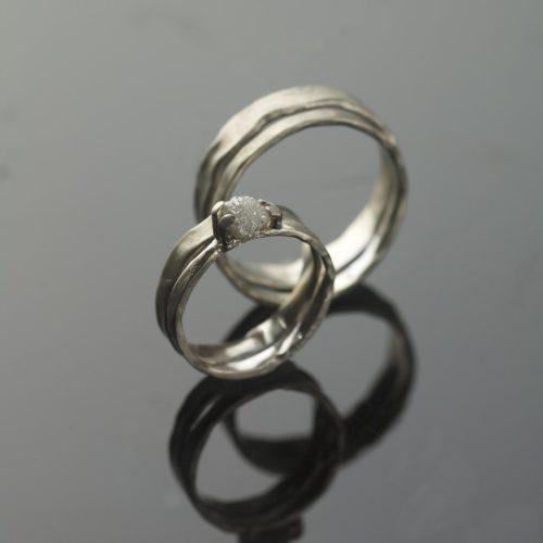 unique white gold wedding ring set uncut diamond