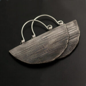 silver earrings with texture