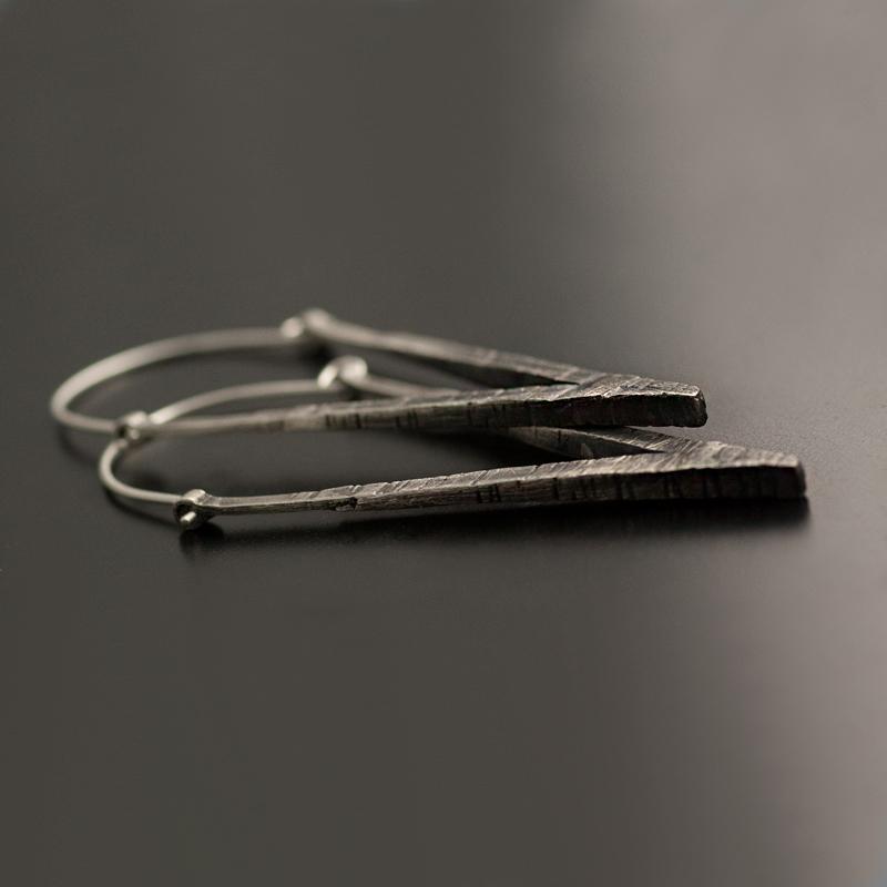 silver v earrings vk designs
