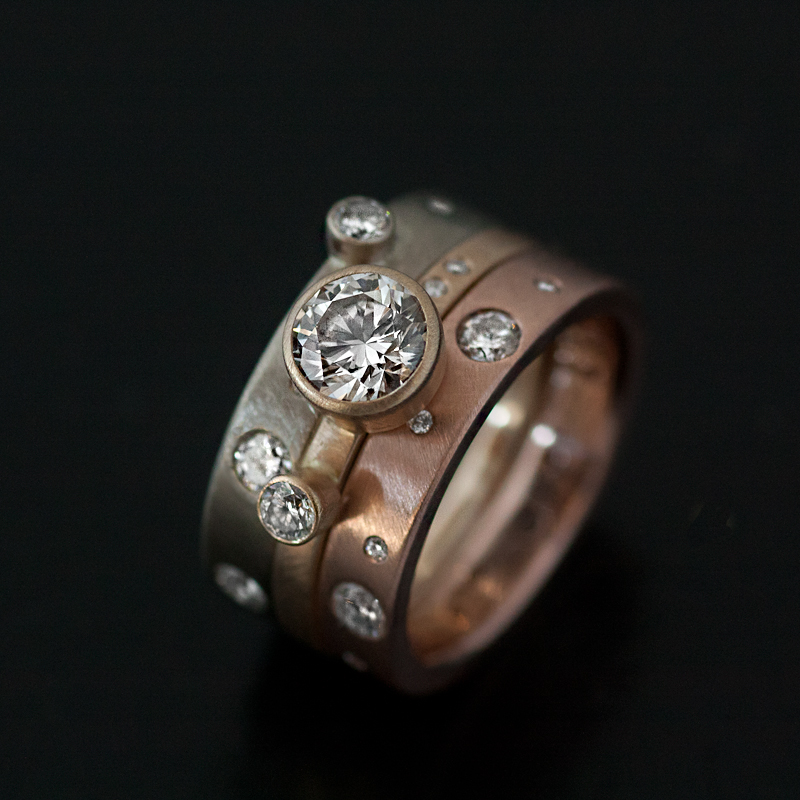 custom ring with rose gold