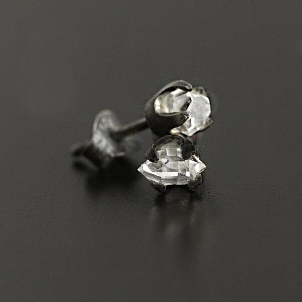 oxidized herkimer diamond earrings