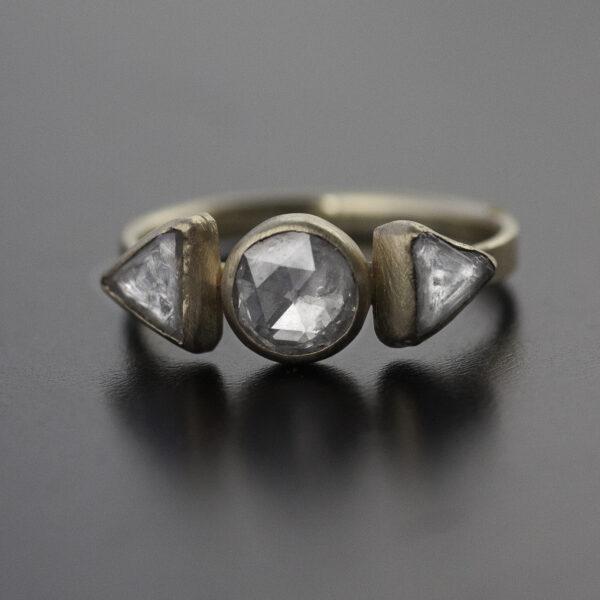 grey rose cut diamond raw diamond ring