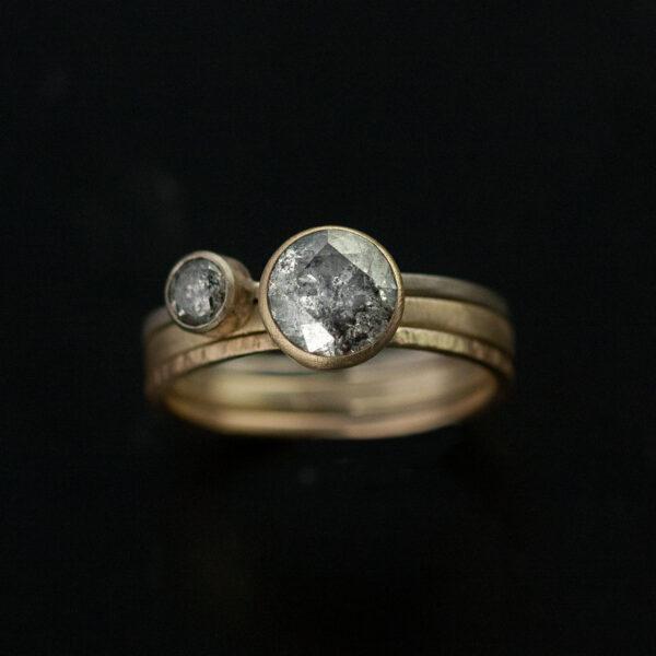 grey diamond ring set