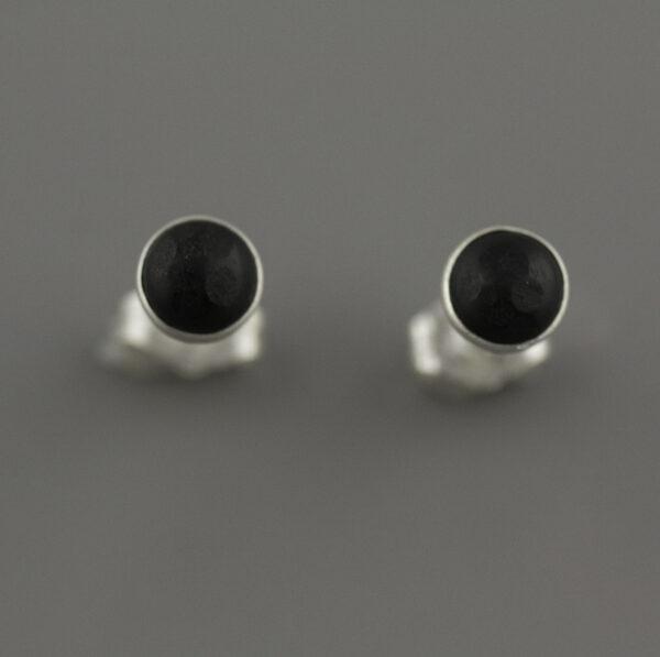round obsidian earrings