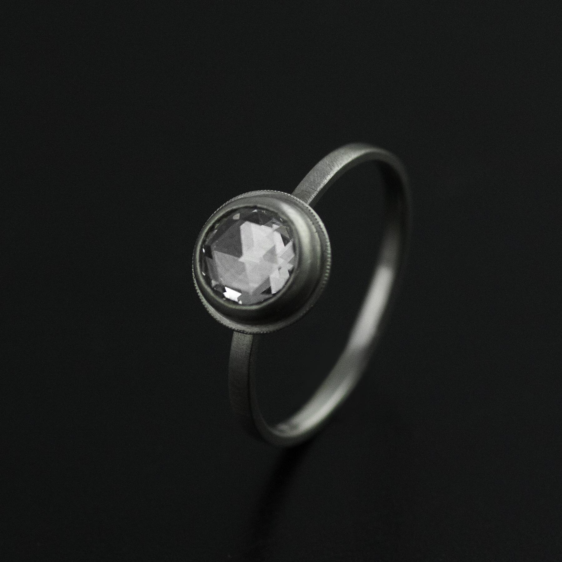 1 ct rose cut diamond platinum custom engagement vk designs