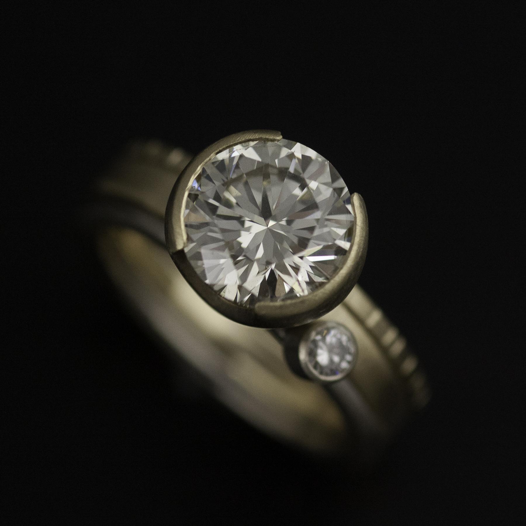 Custom open bezel custom ring set